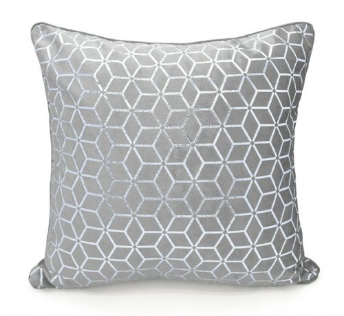 Large Geometric Shimmer Glitzy Metallic Foil Print Design Filled Scatter Cushion Silver Grey